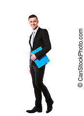 standing, blu, sopra, fondo, mani, uomo affari, cartella, bianco