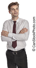 standing businessman crossed arms