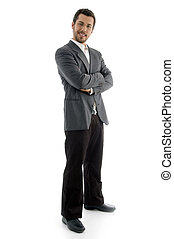 standing businessman looking at camera