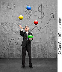 standing businessman playing colorful balls on concrete floor with doodles wall