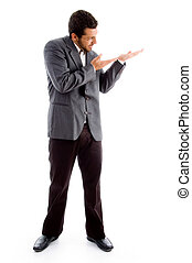 standing businessman pointing