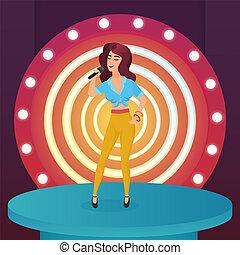standing, cantante, donna, stella, illustration., canzone, moderno, microfono, pop, vettore, lampade, cerchio, canto, palcoscenico