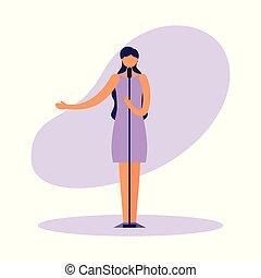 standing, cantante, microfono, femmina