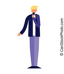 standing, cantante, microfono, uomo