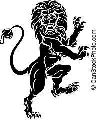 standing, cappotto, araldico, braccia, cresta, leone, rampant