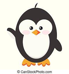 standing, carino, atteggiarsi, isolato, fondo., ciao, bambino, bianco, icona, pinguino