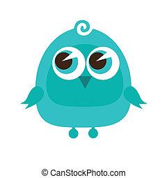 standing, carino, cartone animato, uccello, disegno