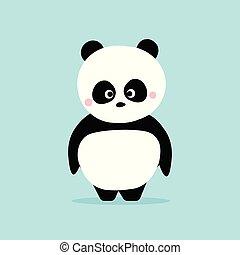 standing, carino, concept., blu, carattere, kawaii, panda, fondo., disegno, cartone animato