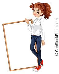 standing, cartello, abbigliamento, fronte, signora, formale