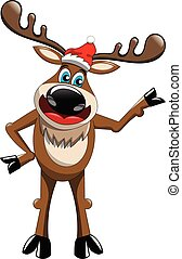 Standing cartoon funny reindeer presenting isolated