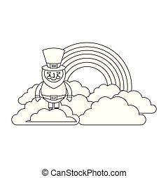 standing cartoon leprechaun on cloud rainbow