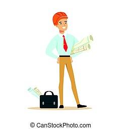 standing, casco, cianografie, colorito, carattere, in crosta, illustrazione, progetto, vettore, sicurezza, presa a terra, arancia, architetto, sorridente