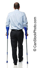 man with crutch - standing caucasian man with crutch...