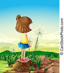 standing, ceppo, mentre, sopra, bambino, sightseeing