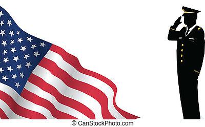 standing, ci bandiera, solider, fronte, fare il saluto militare