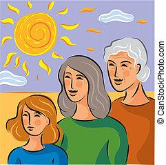 standing, circa, genetica, tre, illustrazione, donne, ...