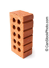 Standing clay brick with ten holes in it against a white...