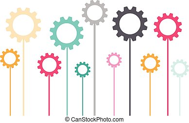 Standing color gears isolated on white background. Vector illustration