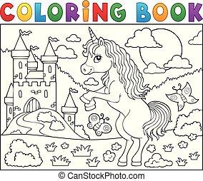 standing, coloritura, tema, 2, unicorno, libro