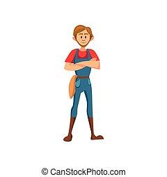 standing, contadino, piegato, illustrazione, vettore, mani, maschio, cartone animato