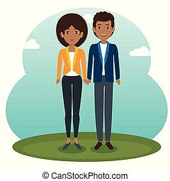 standing, coppia, disegno, africano