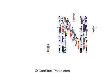 standing, corsa, assemblea, concetto, gruppo, folla, persone, alfabeto, uomini, businesspeople, insieme, n, miscelare, forma, pieno, lettera, inglese, lunghezza, orizzontale, casuale, donne
