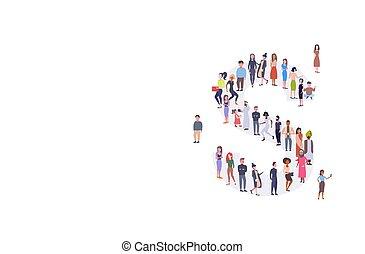 standing, corsa, assemblea, concetto, gruppo, folla, persone, alfabeto, uomini, lunghezza, insieme, businesspeople, miscelare, forma, pieno, lettera, inglese, s, orizzontale, casuale, donne