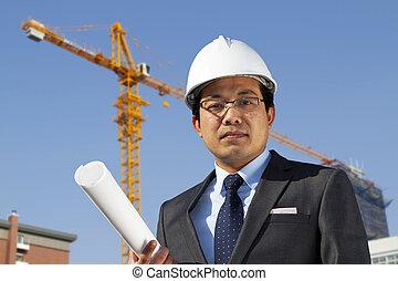standing, costruzione, giovane, luogo, architetto, fronte