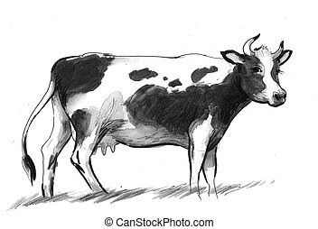 Standing cow - Ink and watercolor illustration of a standing...