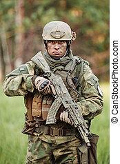 standing, dall'aspetto, macchina fotografica, braccia, rangers