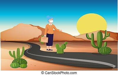 standing, deserto, donna, strada, vecchio
