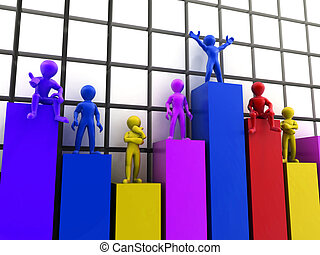 standing, differente, livelli, grafico, persone