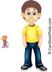standing, divertente, cartone animato, sorriso, ragazzo