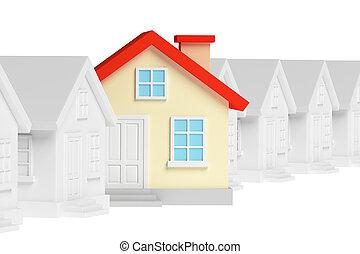 standing, divertente, casa, case, unico, fuori, fila