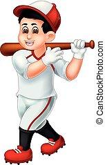 standing, divertente, ondeggiare, giocatore, baseball, sorridente, cartone animato