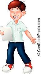 standing, divertente, ragazzo, poesia, sorriso, lettura, cartone animato