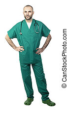 standing doctor with green uniform isolated on white