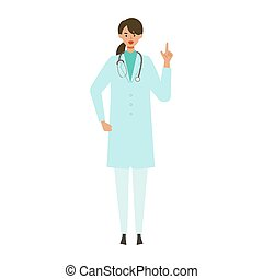 Standing doctor woman in lab coat. Smiling,  pointing. ...