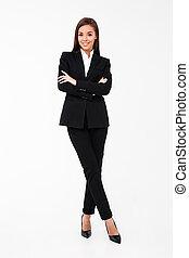 standing, donna, bracci attraversati, affari