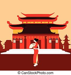 Vettori di ragazza cinese paesaggio csp9934553 cerca for Casa tradizionale cinese