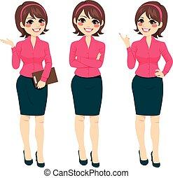 standing, donna d'affari, gesti
