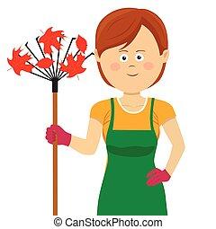 standing, donna, giardinaggio, foglie, rastrello, giovane, autunno, acero