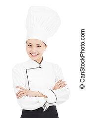 standing, donna, giovane chef, studio, asiatico, carino