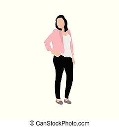 standing, donna, illustrazione, atteggiarsi, persone
