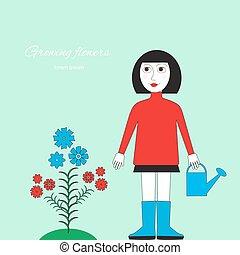 standing, donna, irrigazione, bed., fiore, picture., lattina, floricoltura