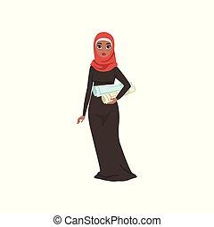 standing, donna, lei, vestire, musulmano, carattere, illustrazione, in crosta, tradizionale, elegante, vettore, fondo, donna d'affari, bianco, mani, arabo