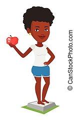standing, donna, mela, mano., scala, presa a terra