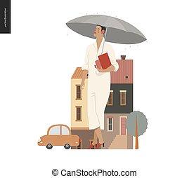 standing, donna, -, pioggia