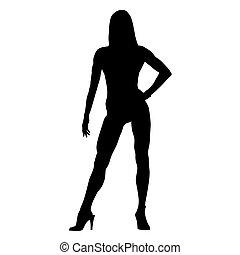 standing, donna, silhouette, isolato, alto, vettore, idoneità, sexy, talloni