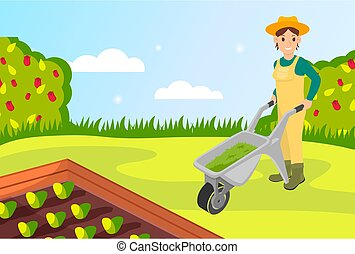 standing, donna, stile, cartone animato, carriola, presa a terra, erba, cutted, giardino, giardiniere